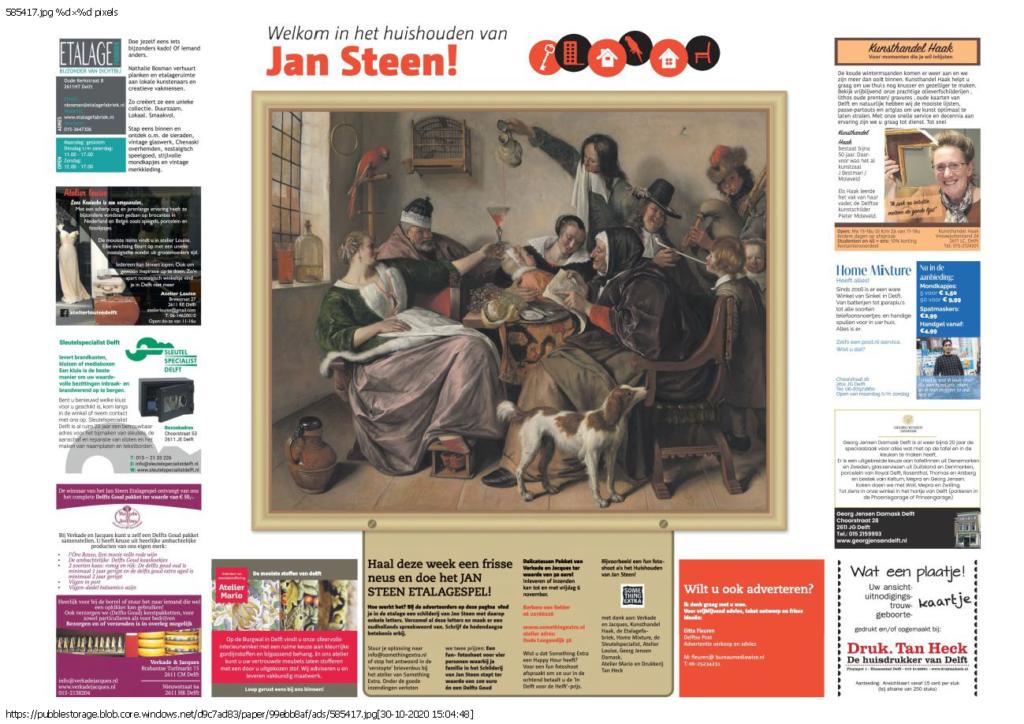 Het Jan Steen etalagespel in Delft